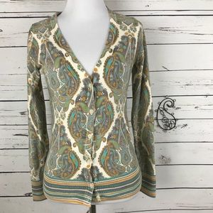 Merona Women's Size XS Paisley Cardigan Sweater